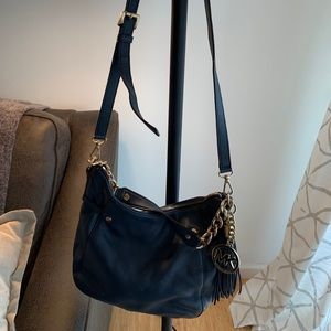 Authentic leather navy Michael Kors cross body bag